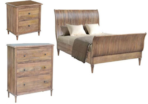 EXQUISITE KING 4 PIECE  TALLBOY  BEDROOM SUITE (WEMP-002) -  FRENCH GREY