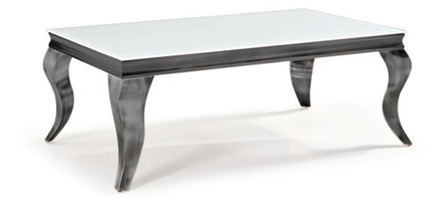 CHATEAU COFFEE TABLE 450(H) X 1200(W) X 700(D) - WHITE / NICKEL