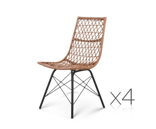 DERILY SET OF 4 RATTAN DINING CHAIRS - NATURAL
