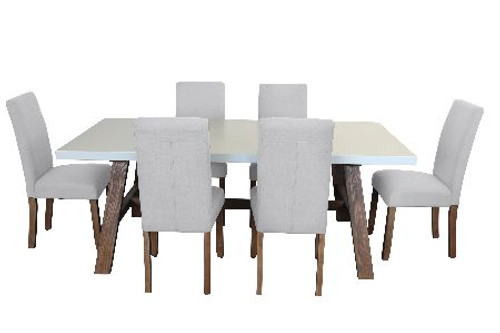 COPACABANA 7 PIECE DINING SETTING WITH  ASHTON CHAIR WITH 1600(W) x 900(D) DINING TABLE  -WHITE /  BEIGE