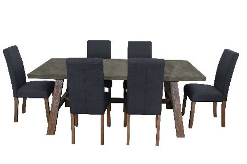 COPACABANA 7 PIECE DINING SETTING WITH  ASHTON CHAIR WITH 1600(W) x 900(D) DINING TABLE - CONCRETE TOP /  DARK GREY