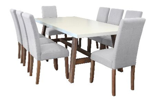 COPACABANA 9 PIECE DINING SETTING WITH  ASHTON CHAIR 2100(W) x 1000(D) - WHITE /  BEIGE