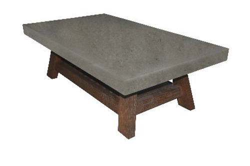COPACABANA COFFEE TABLE WITH MAGAZINE RACK- 420(H) X 1300(L) X 700(D) - CONCRETE LOOK TOP