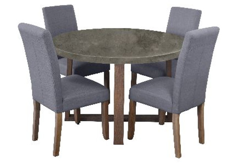 COPACABANA 5 PIECE ROUND DINING SETTING WITH ASHTON CHAIRS - 1200(D) - CONCRETE TOP / LIGHT GREY