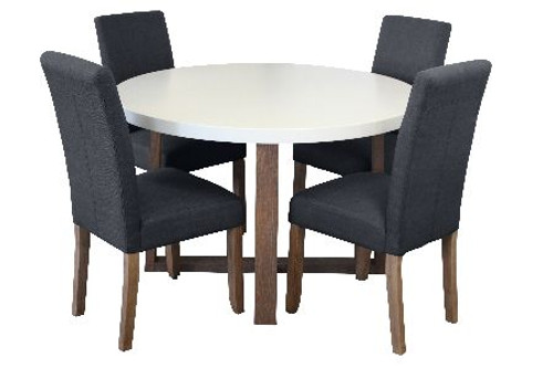 COPACABANA 5 PIECE ROUND DINING SETTING WITH ASHTON CHAIRS - 1200(D) - WHITE  /  DARK GREY