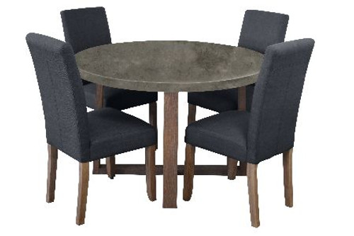 COPACABANA 5 PIECE ROUND DINING SETTING WITH ASHTON CHAIRS - 1200(D) - CONCRETE TOP  /  DARK GREY