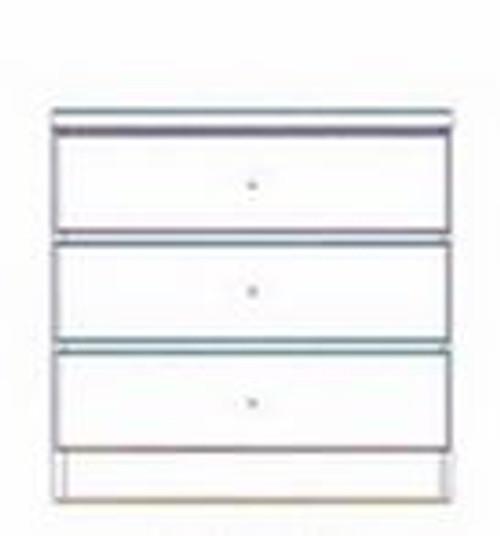 JORDAN (JOR603) 3 DRAWER BEDSIDE - 600(W) - GLOSS WHITE