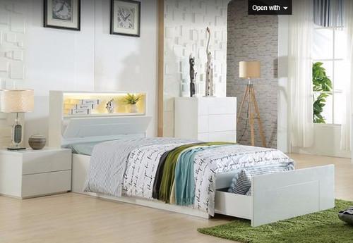 KING SINGLE EMERTON SIDE  GAS LIFT STORAGE  BED (MODEL:LS-081KS) - GLOSS WHITE