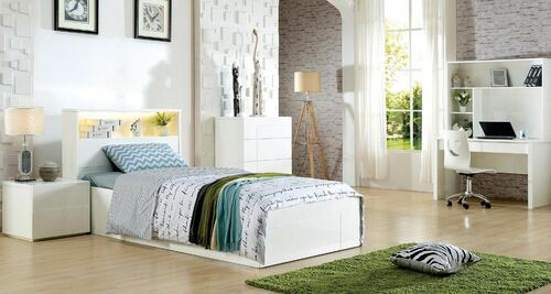 EMERTON SINGLE OR KING SINGLE  4 PIECE BEDROOM SUITE WITH STUDY DESK & HUTCH  (MODEL:LS-081S/KS) - GLOSS WHITE