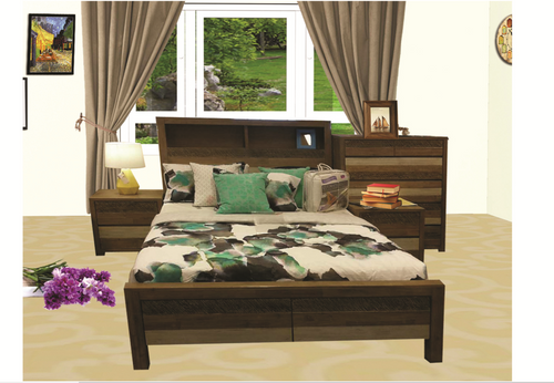 COASTAL QUEEN BOOKEND  BED - COLOUR AS PICTURED