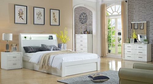 CHICAGO  KING 6 PIECE  (THE LOT)   BEDROOM SUITE WITH SIDE LIFT BED  (LS-120 K)- HIGH GLOSS WHITE