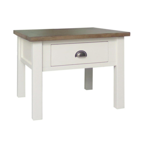 BRIGHTON  LAMP TABLE WITH DRAWER   - WEATHERED GREY / COTTON WHITE
