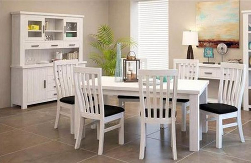 DENALI (VAL-001) DINING TABLE ONLY - 1800(W) x 1000(D) - (MODEL 1-12-1-19-11-1) - BRUSHED WHITE