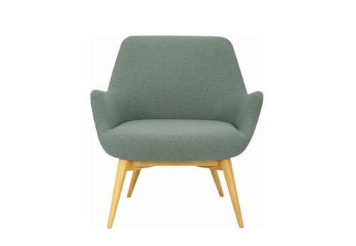BERLINGO SINGLE SEATER FABRIC LOUNGE CHAIR - SEAT: 460(H) - MARBLE BLUE
