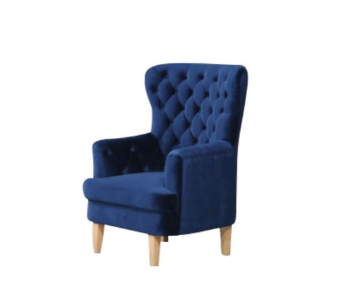 ELISA FABRIC ACCENT UPHOLSTERED BUTTONED SOFA CHAIR  -  NAVY