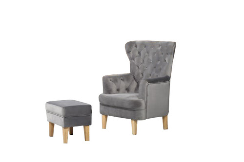 ELISA FABRIC UPHOLSTERED CHAIR WITH FOOT STOOL -  GREY