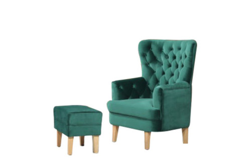 ELISA FABRIC UPHOLSTERED CHAIR WITH FOOT STOOL -  EMERALD