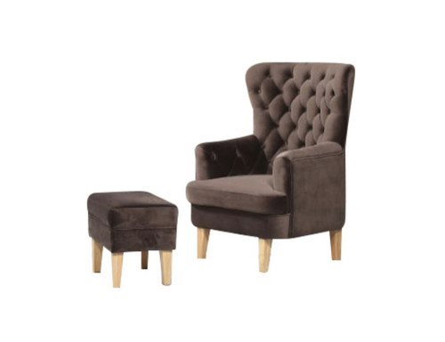 ELISA FABRIC UPHOLSTERED CHAIR WITH FOOT STOOL -  CHOCOLATE