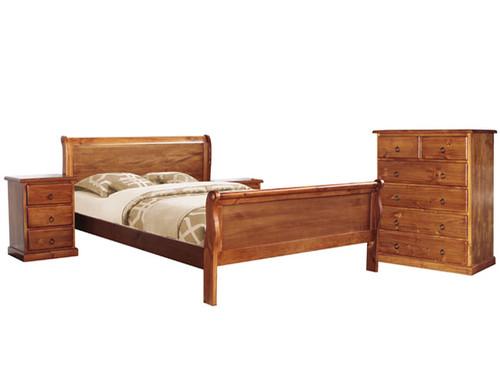 DONELLEY SLEIGH QUEEN BED 4 PIECE TALLBOY BEDROOM SUITE - BLACKWOOD
