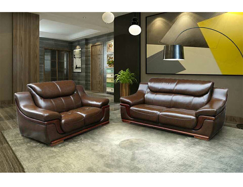 CHARRY TOP LEATHER 3 SEATER + 2 SEATER + 1 SEATER LOUNGE SUITE  -  BEIGE