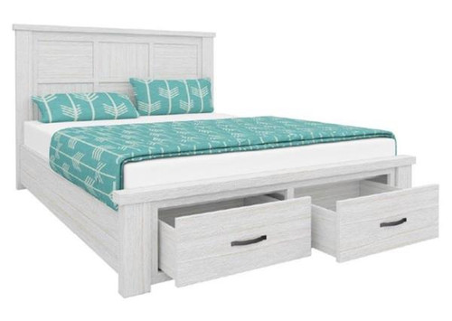 DOUBLE  MILDRED  SOLID TIMBER BED FRAME WITH 2 FOOT DRAWERS  (6-12-15-9-14-1)  - WHITE WASH