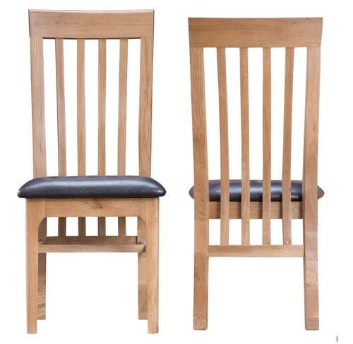 ROBINHOOD  SLAT BACK DINING CHAIR (NT-CSP)  WITH LEATHERETTE  SEAT