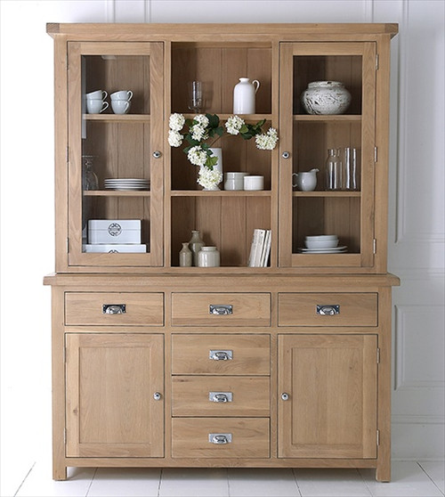 DOVIA (LO-LS) LARGE SIDEBOARD WITH HUTCH - WASHED OAK