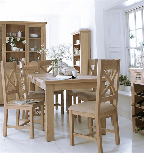 DOVIA (LO-17BET)  9 PIECE DINING SETTING WITH EXTENSION TABLE  1700(W)- WASHED OAK