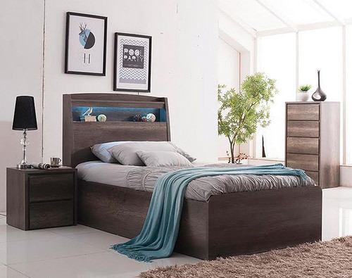 DOUBLE KESWICK BED WITH LED LIGHT  / STORAGE BEDHEAD (16-8-15-20-15-14) - CHARCOAL