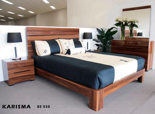 QUEEN KARISMA BED - HIGH GLOSS WOOD GRAIN