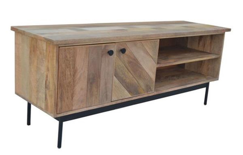 CLYDE LARGE TV UNIT 2 DOORS    ENTERTAINMENT UNIT - 1400(W)  - OAK