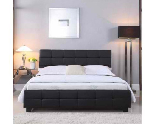 DOUBLE BRAVO (V43-BED-BRVQBL) LEATHERETTE BED - BLACK