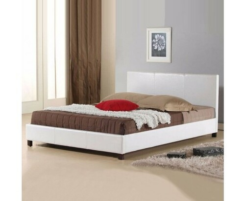 DOUBLE  MONDEO LEATHERETTE  BED  - WHITE