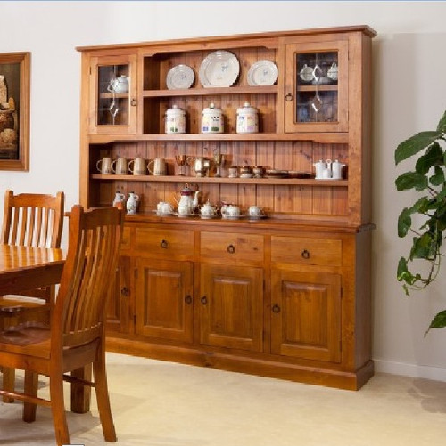 (WBH-4/6) BUFFET AND HUTCH WITH 4 DOORS AND DIAMOND LEADLIGHT - 1850(W)
