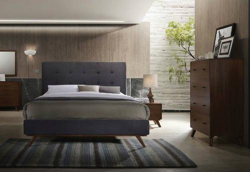 KAARLO  QUEEN  4 PIECE TALLBOY  BEDROOM SUITE  - AUTMN GREY / WALNUT