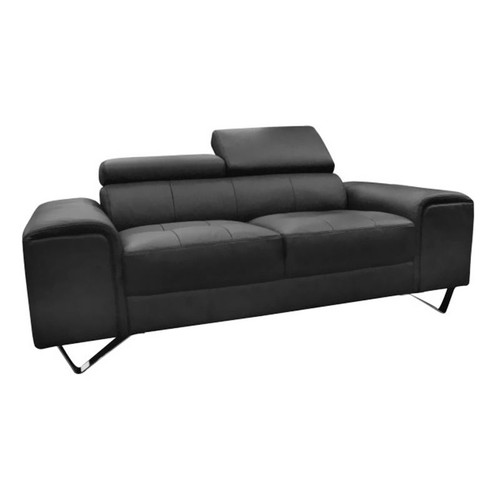 BELLAGIO  3 SEATER LEATHER SOFA   - BLACK