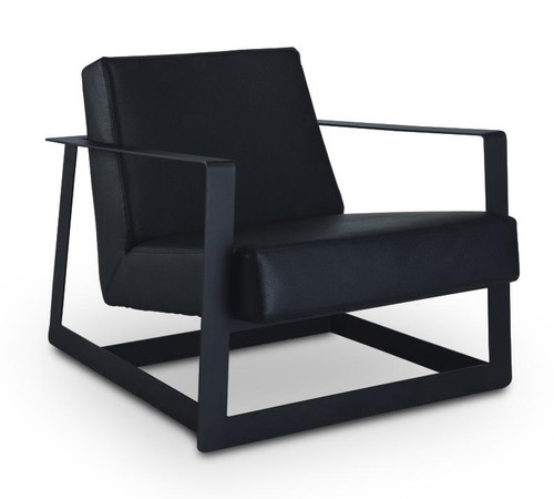 BRUNO LEATHERETTE LOUNGE CHAIR    - BLACK