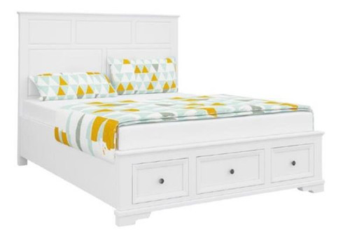 DURANO KING  3 PIECE BED PANEL BEDSIDE BEDROOM SUITE (22-9-5-14-14-1)- WHITE