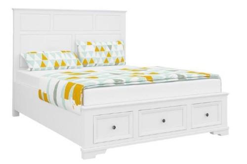 DURANO QUEEN  3 PIECE  BEDSIDE BEDROOM SUITE (22-9-5-14-14-1)- WHITE