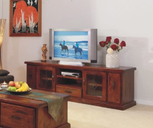 LOW LINE TV UNIT IN RUSTIC COLOUR 2 DOORS,2 DVD PULL OUT AND 1 DRAWER