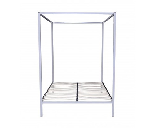 QUEEN  4 POSTER METAL BED ( V63-819523) -   WHITE