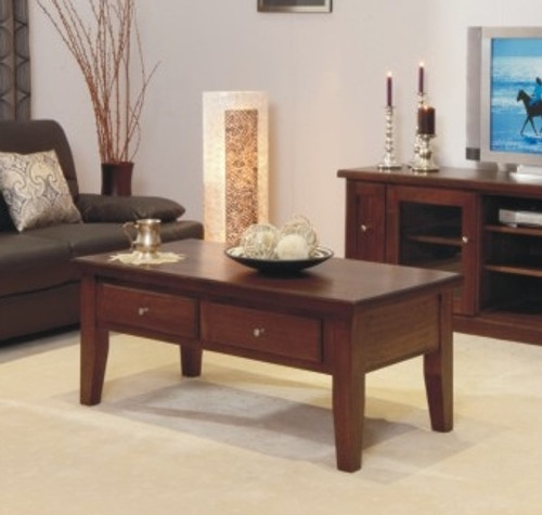 DINH TASSIE OAK COFFEE TABLE WITH 2 DRAWERS -500(H) X 1200(W) X 700(D) - CHOICE OF COLOURS