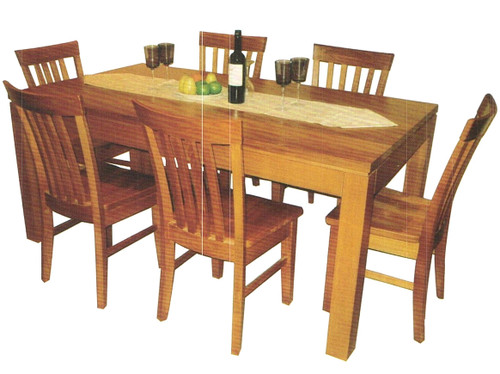 TASSIE OAK (GROOVE UNDER TABLE TOP) 7 PIECE DINING SUITE - 1800(L) x 1000(W) - CHOICE OF COLOURS