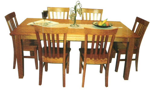 TASSIE OAK (TAPERED LEGS) 7 PIECE DINING SUITE - 1800(L) X 1000(W) - CHOICE OF COLOURS