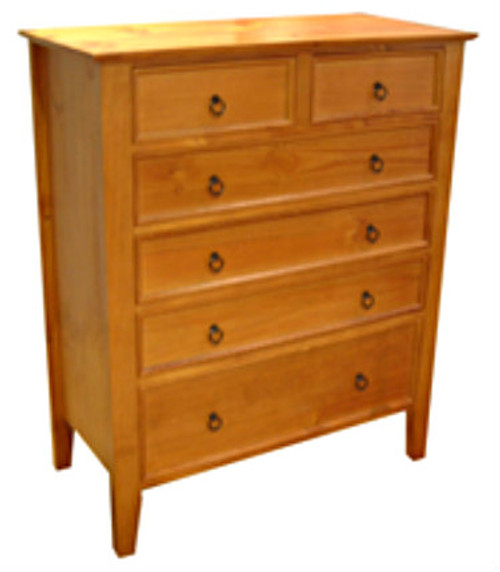 SHAKER TALLBOY WITH 6 DRAWERS - ASSORTED COLOURS AVAILABLE