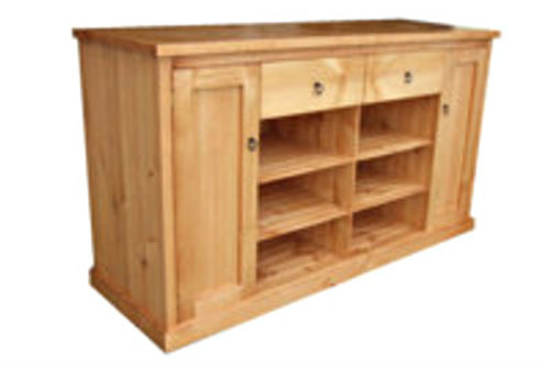 TIMBER LOWLINE TV UNIT WITH 2 DOORS, 2 DRAWERS & 6 COMPONENT SHELVES -1800(W) -  ASSORTED COLOURS AVAILABLE