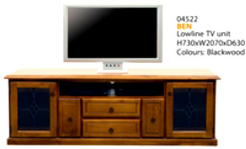 BEN LOWLINE TV UNIT WITH LEAD LIGHT CLEAR GLASS DOORS - 2070(W) - ASSORTED COLOURS AVAILABLE