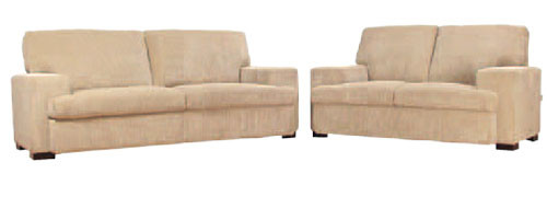 HUDSON 2.5 SEATER + 2 SEATER FABRIC LOUNGE - MOCHA, CHARCOAL OR LATTE