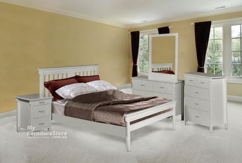 PARKVIEW (DB-ROM/QB-ROM) (MODEL 18-15-13-1-14-25) DOUBLE OR QUEEN 4 PIECE TALLBOY BEDROOM SUITE - WHITE