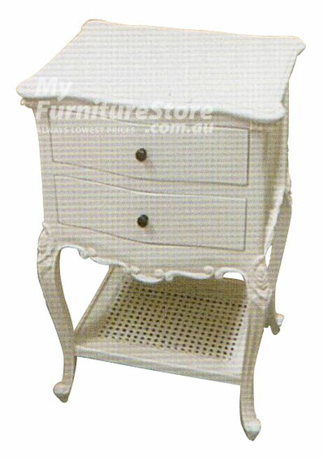 MAHOGANNY 2 DRAWER BEDSIDE - WHITE